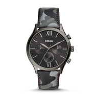 Fossil Unisex Montre Fenmore Midsize Multifonction En Cuir Camouflage Anthracite Blanc - One size